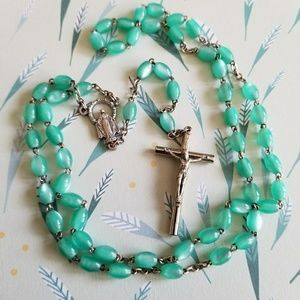 Vintage moonglow rosary teal green silver tone